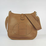 Hermes togo leather evelyne bag with outside pocket 6309 (light brown)