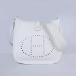 Hermes togo leather evelyne bag (white) 6309