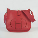 Hermes togo leather evelyne bag with outside pocket (red) 6309