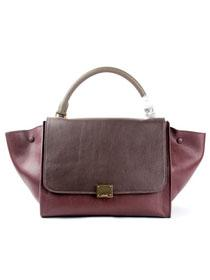2012 Celine trapeze tote Bag in suede 88037 jujube red/coffee