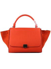 2012 Celine trapeze tote Bag in suede 88037 orange