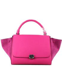 2012 Celine trapeze tote Bag in suede 88037 pink red