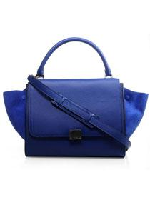 2012 Celine trapeze tote leather Bag 3342 blue