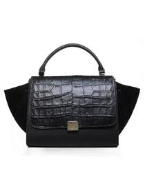 Celine Luggage Phantom Square Bag crocodile 3342 black