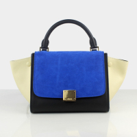 2013 celine trapeze tote bag small size 88038 blue&black&rice white