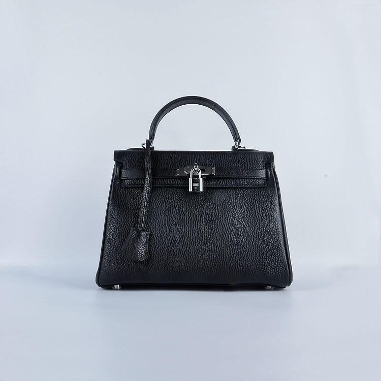Hermes Kelly 28cm togo Leather 6608 Black Silver Buckle