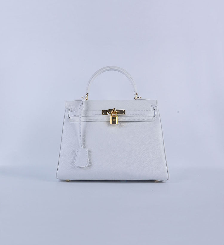 Hermes Kelly 28cm togo Leather 6608 White gold Buckle