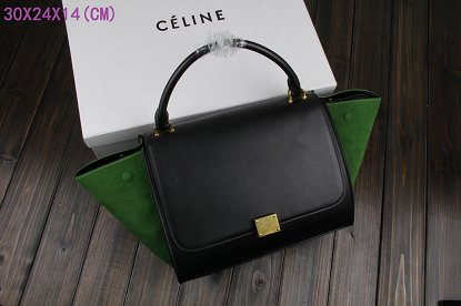 Celine Trapeze Bag Original Leather 3342-1 black&green