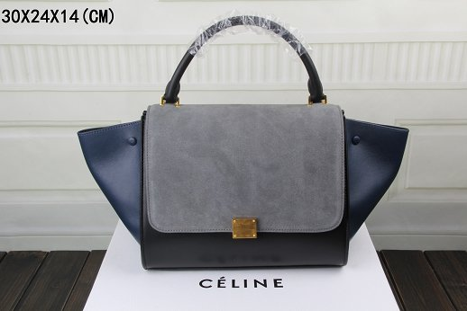 Celine Trapeze Bag Original Leather 3342-1 gray&black&dark blue