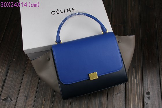 Celine Trapeze Bag Original Leather 3342-2 brilliant blue&dark blue&gray