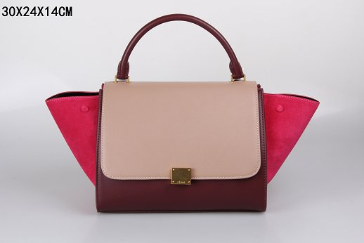 Celine Trapeze Bag Original Leather 3342-1 light pink&purplish red&red