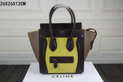 2015 Celine top quality nubuck leather with plain weave 3308-1 yellow&coffee&khaki