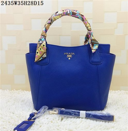 2015 Prada new models shopping bag 2435 blue