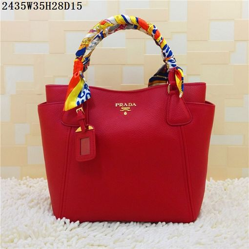 2015 Prada new models shopping bag 2435 red