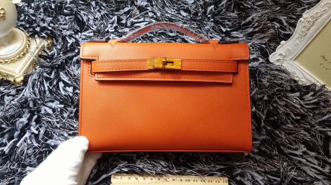 Hermes Kelly 22cm mini tote bag calf leather K011 orange