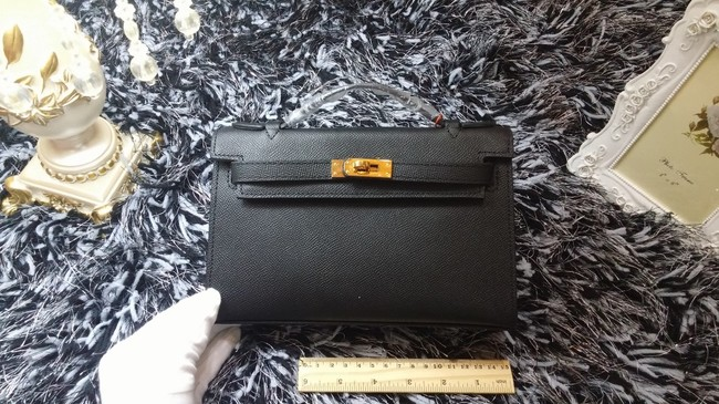 Hermes Kelly 22cm mini tote bag calf leather K011 black