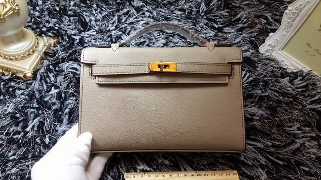 Hermes Kelly 22cm mini tote bag calf leather K011 light gray