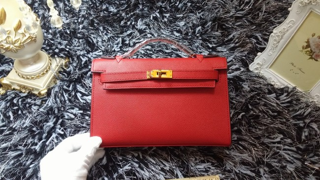 Hermes Kelly 22cm mini tote bag calf leather K011 red