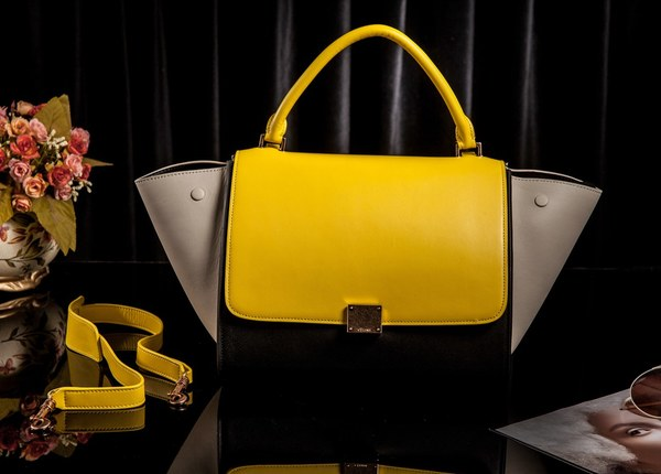 Celine Trapeze Bag Original Leather 3342 Yellow&Black&OffWhite