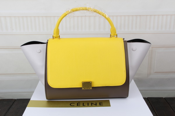 Celine trapeze bag original leather 3342 yellow&khaki&white