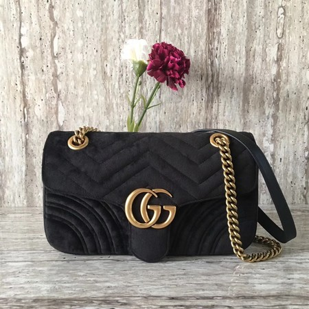Gucci Velvet GG Shoulder Bag 446497 black