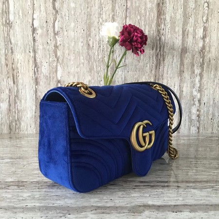 Gucci Velvet GG Shoulder Bag 446497 blue