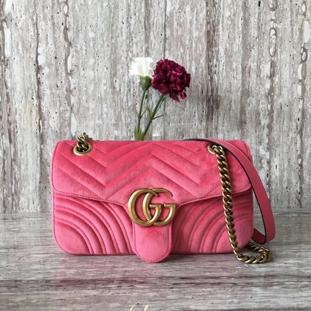 Gucci Velvet GG Shoulder Bag 446497 pink