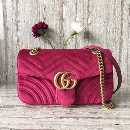 Gucci Velvet GG Shoulder Bag 446497 rose
