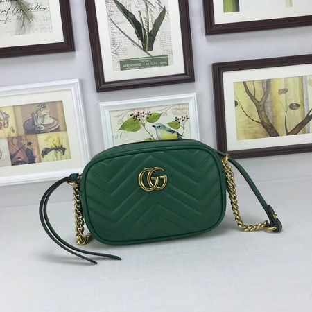 Gucci GG marmont matelasse calfskin mini bag 448065 green
