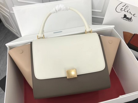 Celine Trapeze Bag Original Leather 3342 White apricot grey