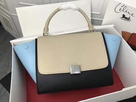Celine Trapeze Bag Original Leather 3342 Black blue grey