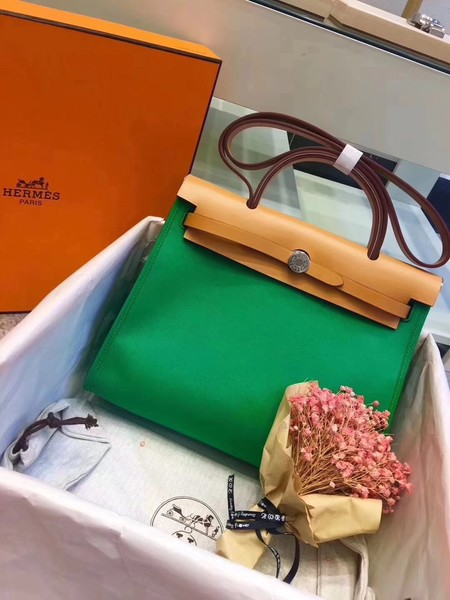 Hermes original canvas&calfskin leather herbag H45987 green with apricot