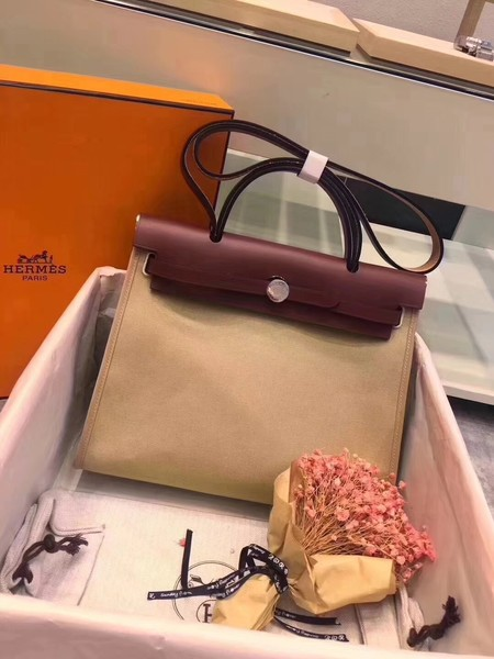 Hermes original canvas&calfskin leather herbag H45987 Cream with wine