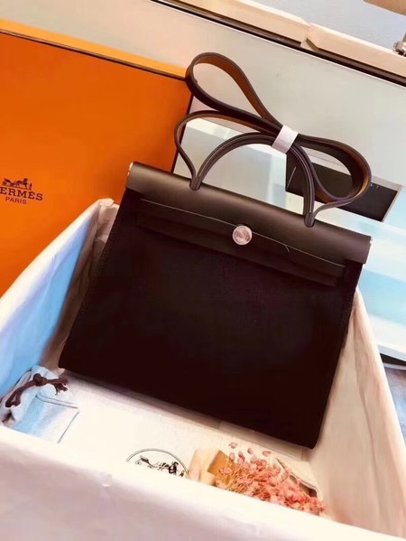 Hermes original canvas&calfskin leather herbag H45987 black