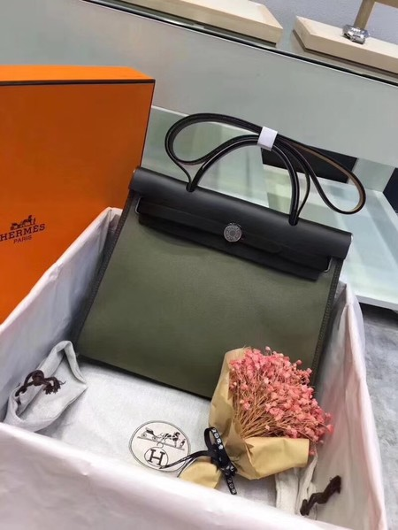 Hermes original canvas&calfskin leather herbag H45987 Blackish green with black