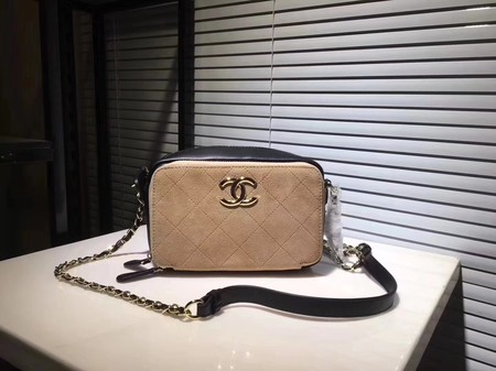 Chanel Calf leather Shoulder Bag 56987 Apricot with brown
