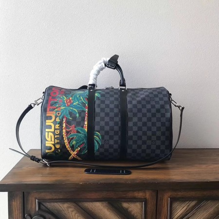 Louis Vuitton Damier Graphite Keepall 45 with Shoulder Strap N50002 Coconut tree