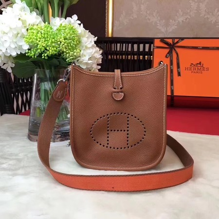 Hermes Evelyne original togo leather mini Shoulder Bag H1187 Light brown