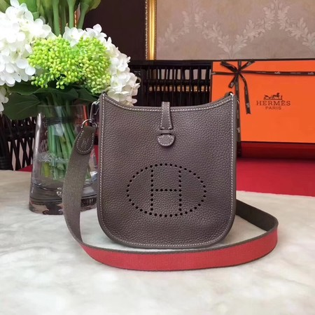 Hermes Evelyne original togo leather mini Shoulder Bag H1187 grey