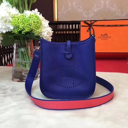 Hermes Evelyne original togo leather mini Shoulder Bag H1187 blue