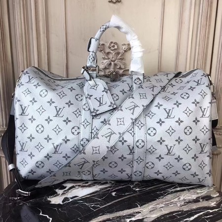 Louis Vuitton Monogram Canvas Keepall 45CM with Shoulder Strap 43858 silver