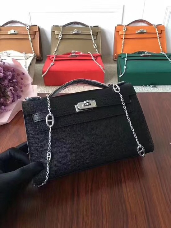 Hermes Mini Kelly Tote Bag Epsom Leather 1707 black