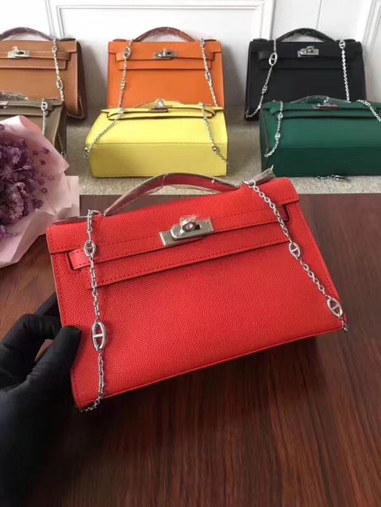 Hermes Mini Kelly Tote Bag Epsom Leather 1707 red