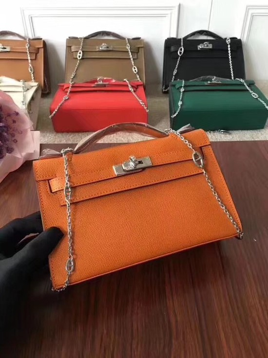 Hermes Mini Kelly Tote Bag Epsom Leather 1707 orange