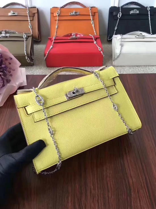 Hermes Mini Kelly Tote Bag Epsom leather 1707 lemon