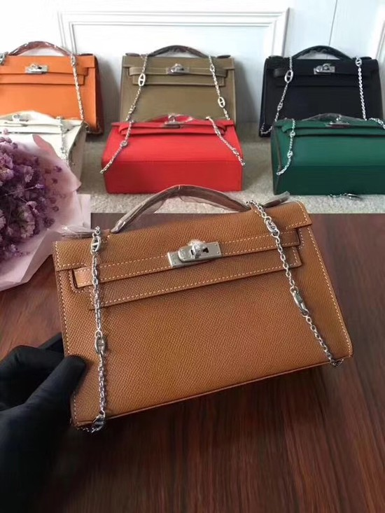 Hermes Mini Kelly Tote Bag Epsom leather 1707 camel