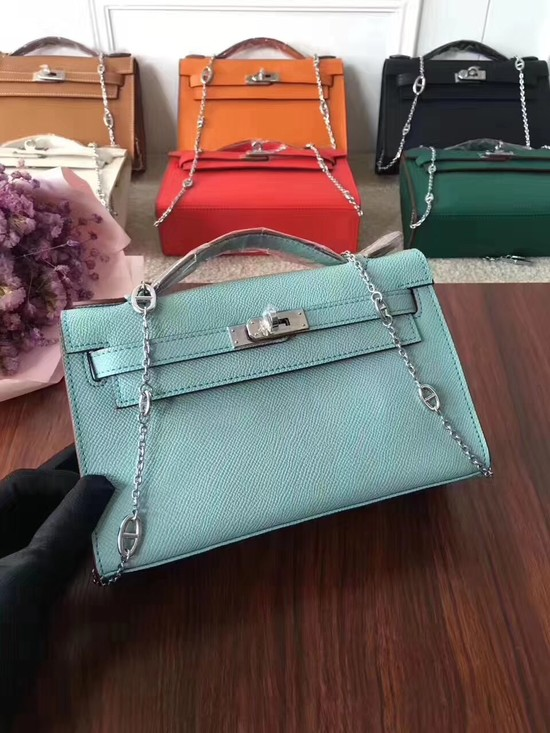 Hermes Mini Kelly Tote Bag Epsom leather 1707 Light blue