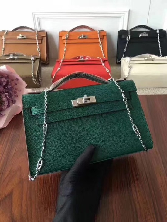 Hermes Mini Kelly Tote Bag Epsom  leather 1707 green