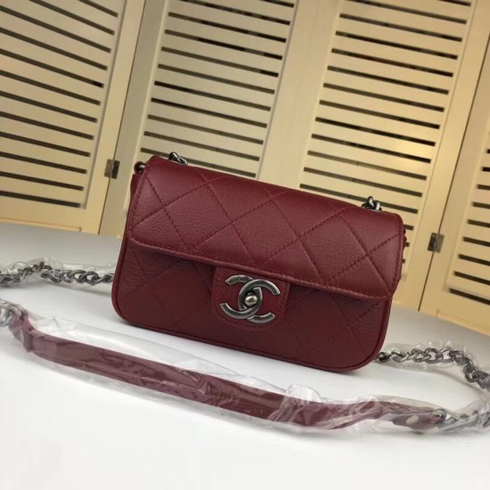 Chanel mini Leather cross-body bag 7739 Dark red