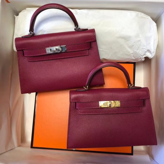 Hermes Kelly 20cm Tote Bag Original Epsom Leather KL20 fuchsia